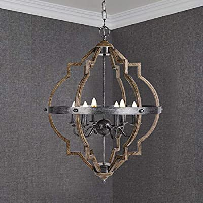 Rustic Vintage Pendant Light Indoor Six-Light with Metal Spherical Shade for Kitchen, Dining Room, Living Room Ceiling Hanging Light E12 Candelabra Base