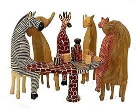 Animal Figures Handcrafted Wooden Giraffe Zebra African Wild Statue Tabletop Decor Wild Safari Figurines Elephant Decorative Accents
