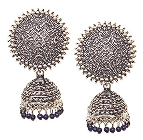 Pahal - Pendientes de jhumka de plata con perlas azules pintados en forma de jaipur