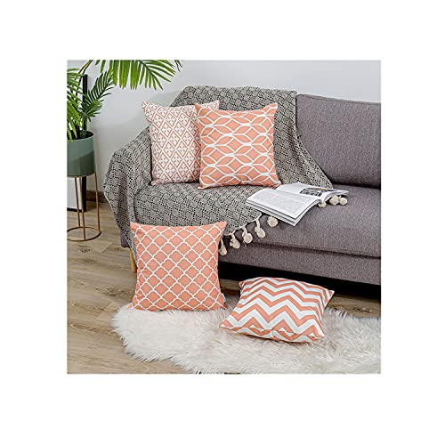 QUALKNOY Coral Cushion Cover Cotton Linen Decorative Square Stylish Throw Pillow Cases Home Decor for Sofa Outdoor Bedroom Terrace Chair With Invisible Zipper 18 x 18 Inch 45 x 45 cm -Set of 4