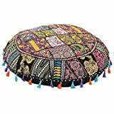 Jaipurstudio Black Indian Ethnic Bohemian Floor Pillow Cover 32 Inch Patchwork Meditation Ottoman Stool Home Decor Embroidered Vintage Cotton Round Floor Cushions Seating for Adults 32x32
