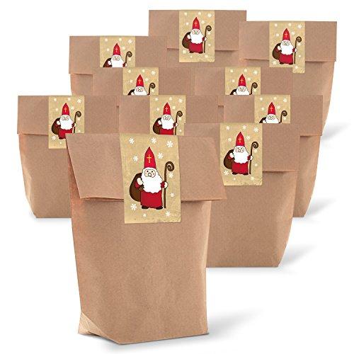 25 braune Geschenktüten Weihnachtstüten mit Boden 14 x 22 x 5,6 cm Kraftpapier natur Tüten + 25 Weihnachtsaufkleber HEILIGER NIKOLAUS ROT weiß beige zum Verpacken Weihnachtsgeschenke Papiertüten