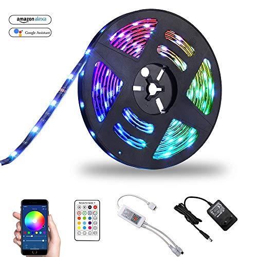 LED Streifen Set Alexa Wifi Strip, Smart RGB LED Strip Lichtleiste Arbeitet mit Alexa, Google Home Smartphone, 5M LED RGB Bänder Lichterkette Wasserdicht (5M)