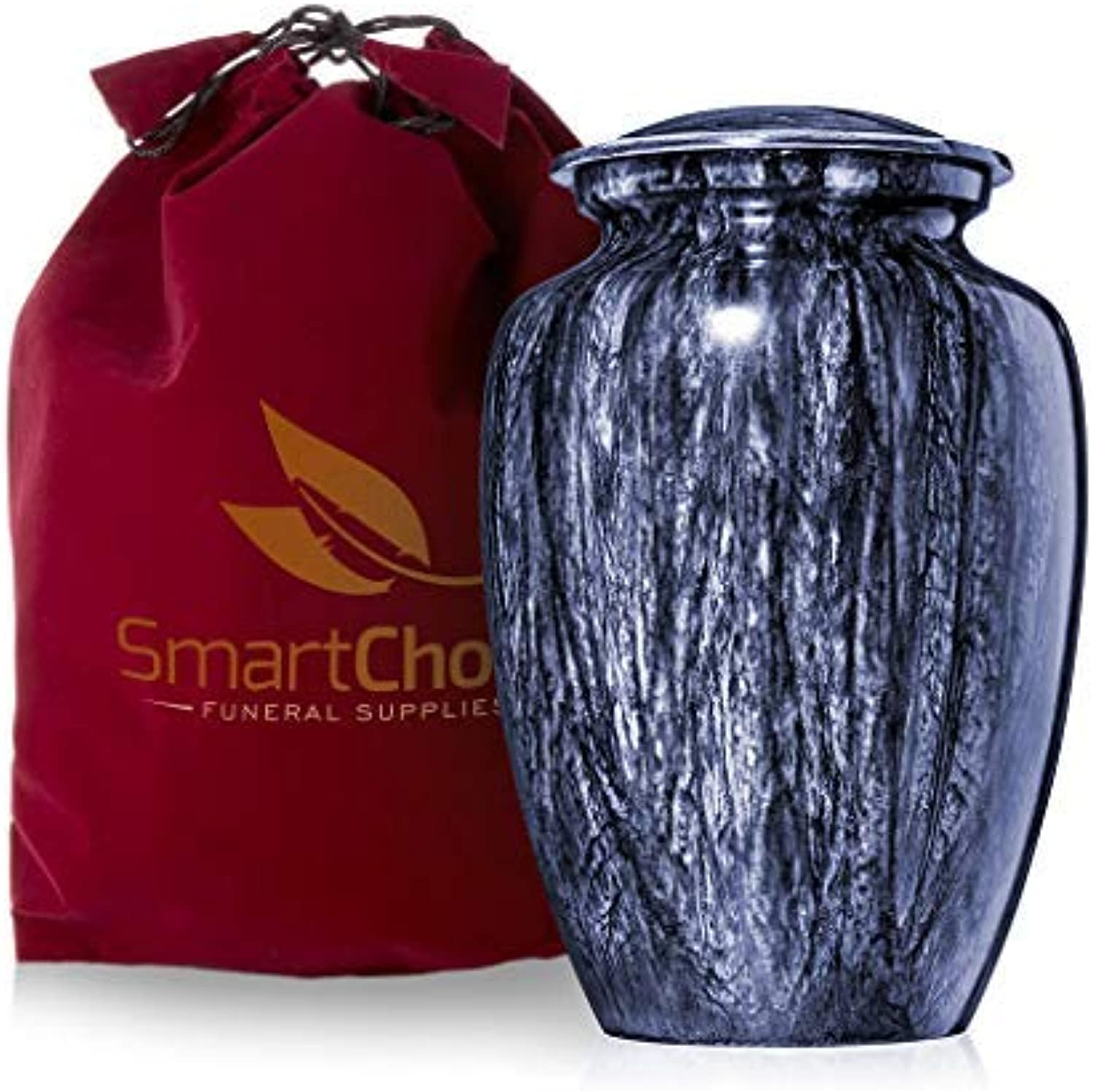 SmartChoice Deep Marbleized bluee Cremation Urn for Human Ashes - Affordable Funeral Urn Adult Urn for Ashes Handcrafted Urn (Adult)