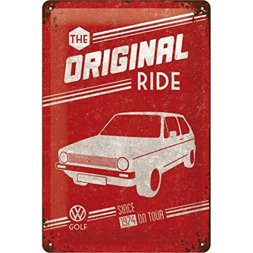 Nostalgic-Art Retro Blechschild, Volkswagen Golf – The Original Ride – VW Bus Geschenk-Idee, aus Metall, Vintage-Design zur Dekoration, 20 x 30 cm