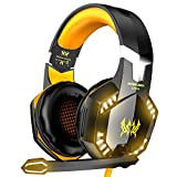 VersionTECH. G2000 Gaming Headset, Surround Stereo Gaming Headphones with Noise Cancelling Mic, LED Lights & Soft Memory Earmuffs for PS5, PS4, Xbox One, Nintendo Switch, PC Mac Computer Games- Orange