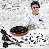 San Ignacio Professional Chef Copper recipientes herméticos Cocina, Set 3 sartenes + 4 fiambreras + 3 utensilios