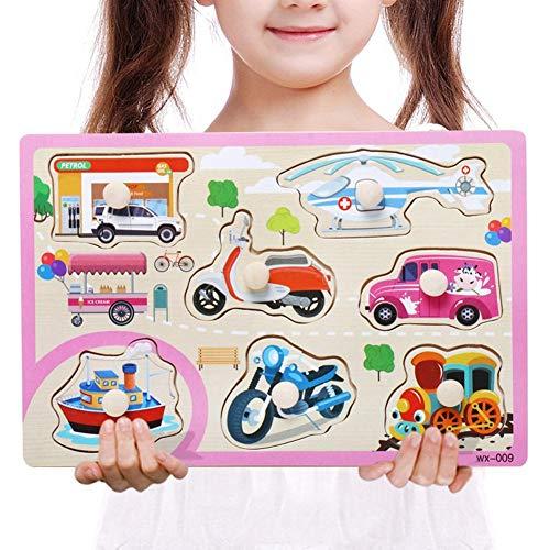 Niños pequeños Rompecabezas de madera Rompecabezas Divertidos juguetes educativos Aprendizaje temprano Preescolar Peg Puzzles para niños Bebés Niños Niñas Números del alfabeto Animales granja Zoo Cars