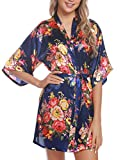 Hawiton Bata Kimono Mujer poliéster otoño,Vintage Floral Corto Robe Albornoces,Bata de Novia Personalizada Pijamas para SPA Bañarse