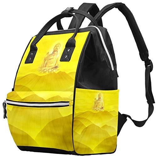 Glittering Like Buddha - Mochila de gran capacidad para pañales de bebé, bolsa de viaje para madres y papás