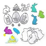 Gobesty Plantillas de troquelado, 15 unidades, diseño de corona de conejos de Pascua, para scrapbooking, para álbumes de recortes, papel fotográfico, tarjetas, manualidades