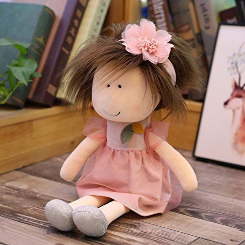 Muñeca de Peluche para niñas, muñeco de Trapo Suave, Bonito muñeco de Trapo Suave, Encantador muñeco de Trapo, Juguetes Hechos a Mano para niñas, Pareja para Dormir 2021 (Rosa Caliente)