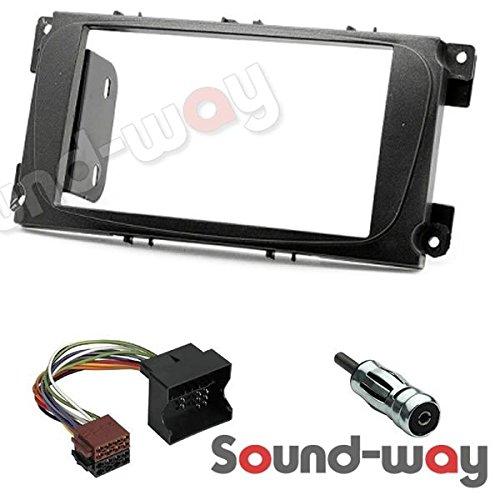 Sound-way Sound-way Kit Montaje Autoradio, Marco 2 DIN con Soportes de Montaje, Cable Adaptador Conector ISO, Adaptador Antena, compatibile con Ford Focus, Mondeo, S-Max, C-Max, Galaxy, Kuga