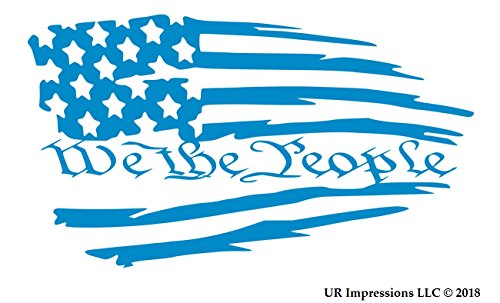 UR Impressions OBlu Tattered American Flag - We The People Decal Vinyl Sticker Graphics Car Truck SUV Van Wall Window Laptop|Olympic Blue|7.5 X 4.2 Inch|URI612
