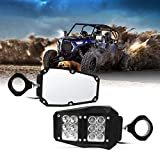 All UTV 1.75 - 2 Inch Roll Bar Cage Offroad Side Rear View Mirrors With Clear Lens LED Spot Light Compatible With Polaris RZR XP 1000 RZR 900 (1.75'-2' Mirror With Light)