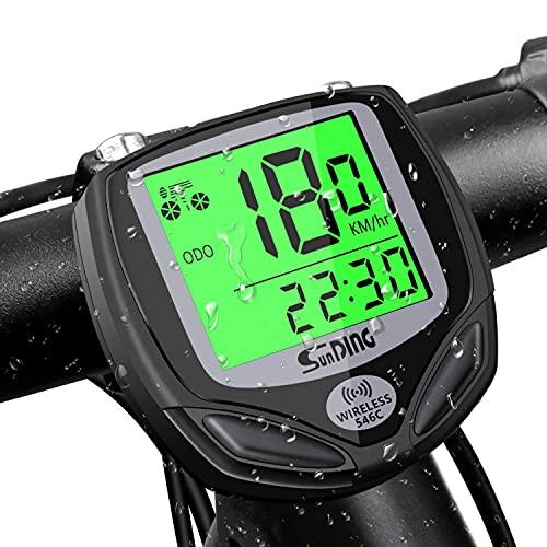 Fahrradcomputer Kabellos, 16 Funktionen LCD Fahrrad Computers, Wasserdichte Fahrradtacho Radcomputer Tacho, Kilometerzähler Fahrrad Tachometer Geschwindigkeitsmesser mit Automatisch Aufwachen(Schwarz)