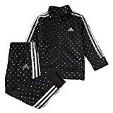 adidas Girls' Tricot Jacket & Jogger Active Clothing Set, Black with Silver Dot, 4T