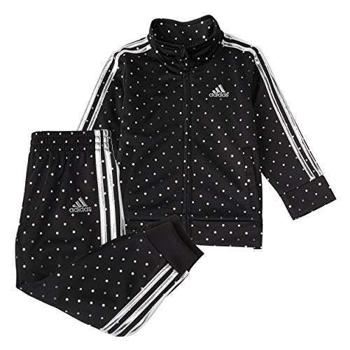 adidas Girls' Tricot Jacket & Jogger Active Clothing Set, Black with Silver Dot, 6X