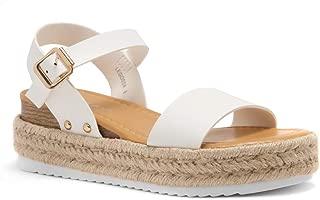 Legossa Womens Open Toe Ankle Strap Platform Wedge Shoes Casual Espadrilles Trim Flatform Studded Wedge Sandals