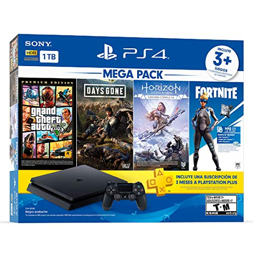 Paquete PlayStation 4 Slim 1 TB (Mega Pack) con 3 juegos (Horizon Zero Dawn, Days Gone, Grand Theft Auto…
