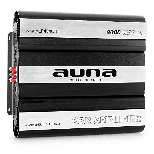 auna ALP404CH - Car HiFi Verstärker, 4-Kanal Auto-Endstufe, Car Amplifier, MOSFET, brückbar, 4/3/2-Kanal Betrieb, 4000 Watt Peak-Leistung, Hoch- / Tiefpassfilter, schwarz-Silber