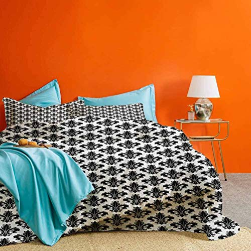Fleur De Lis 3 Pieces Duvet Cover Set Monochrome Royal Lily Pattern Victorian Inspiration Ornamental Vintage Design Best Hotel Luxury Bedding Black White | 1 Duvet Cover + 2 Pillow Shams Cal King