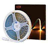 CP3 12V COB Flexible LED Strip 2700K Warm White 16.4 FT 400LEDs/Meter No Hot Spots Bendable Continuous Lights Tape CRI 80+ Dimmable for DIY Home Bedroom Under Cabinet Decoration
