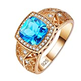 Honghu 18K Anillo Chapado en Oro Topacio Azul Corte Princesa Promesa Vintage para Sus Regalos de joyería de Fiesta Azul Marino # 9