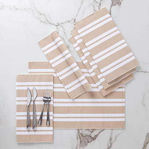 Encasa Homes Manteles Individuales (Set of 6 pcs) Hechos de Fino algodón Acanalado - Tamaño 48x33 cm, Colores y diseños, Uso en el hogar, Restaurantes - Franca Beige Rayas