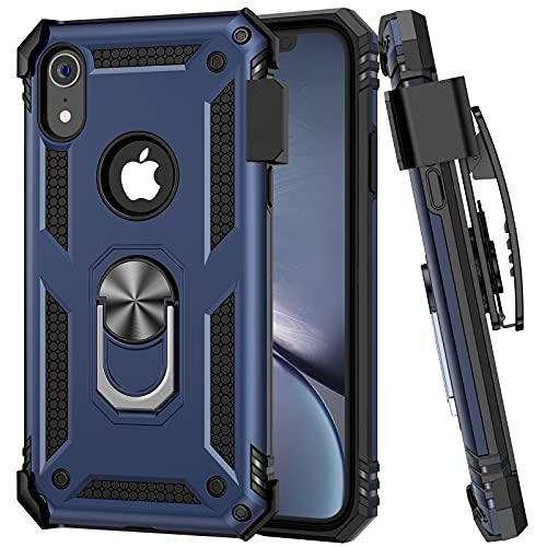 """Ruky iPhone XR Case with Belt Clip Holster, iPhone XR Case with Ring Stand Holder, Military Grade Dual Layer Fit for Magnetic Car Mount Shockproof Anti Scratch Rugged Case for iPhone XR 6.1"""", Blue"""