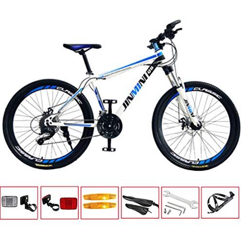GL SUIT 30-Gang Fahrrad Mountainbike für Erwachsene, leichte Carbon Stahlrahmen, Doppelscheibenbremsen, vorn + hinten Kotflügel, Hard Tail, Unisex,White Blue,26 inches