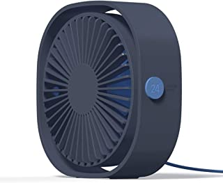 Simpeak Mini USB Desk Fan Cooling Quiet Portable Blue USB Powered ONLY (No Battery), 3 Speed Setting 360° Adjustable Swive...