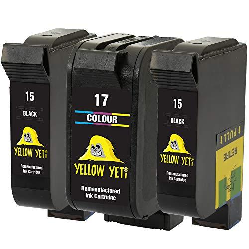 Yellow Yeti Remanufacturados 15 17 Cartuchos de Tinta (2 Negro, 1 Color) para HP Deskjet 816c 825c 827 840c 841c 842c 843c 845c 845cvr 848c [3 años de garantía]