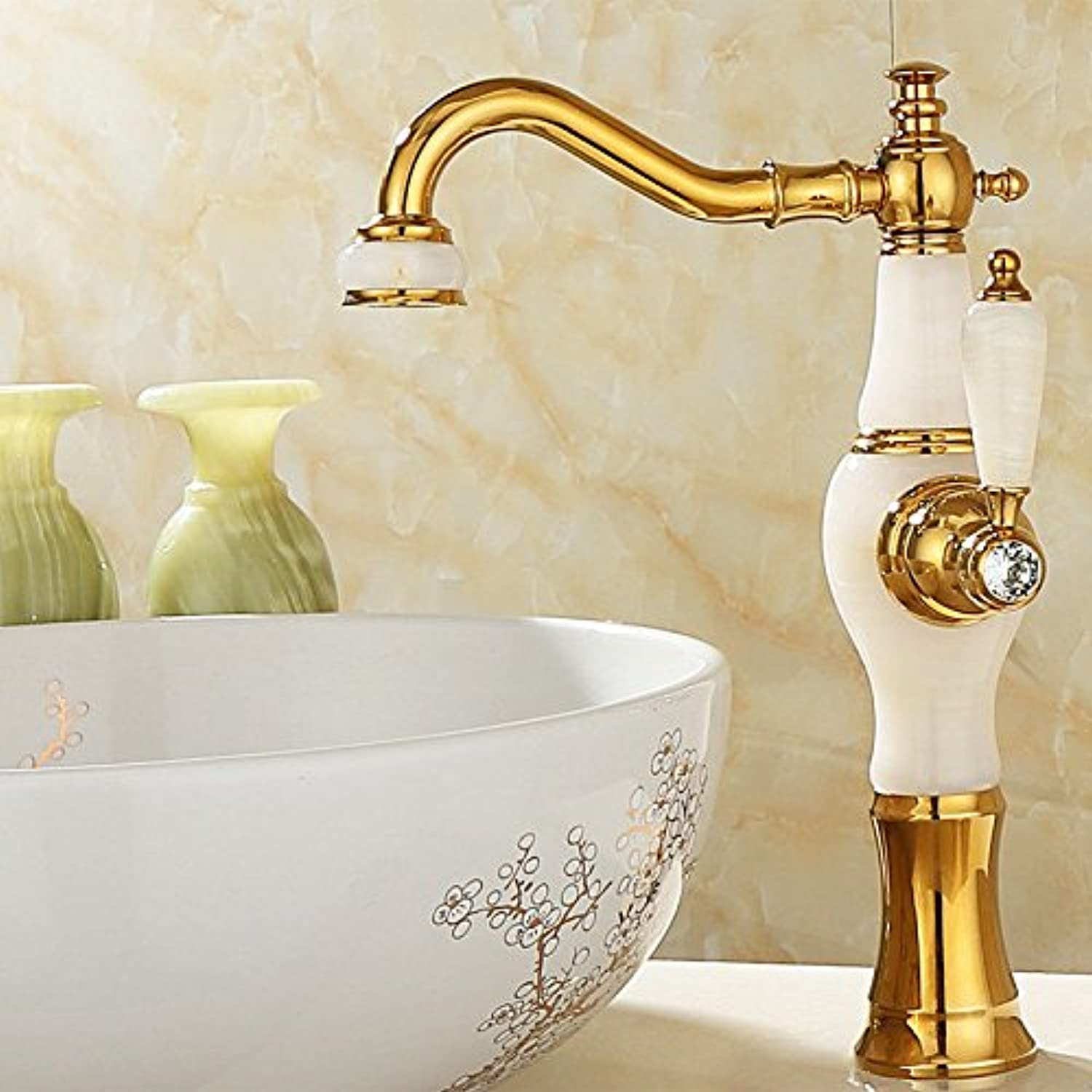 Hlluya Professional Sink Mixer Tap Kitchen Faucet Natural jade surface basin of cold water faucet copper golden basin-wide marble antique