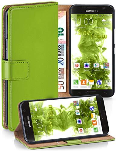 moex Klapphülle kompatibel mit Samsung Galaxy S7 Hülle klappbar, Handyhülle mit Kartenfach, 360 Grad Flip Case, Vegan Leder Handytasche, Grün