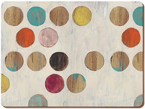 Creative Tops Juego de 4 manteles Individuales Parte Trasera de Corcho, diseño Retro de Lunares, tamaño Grande, Madera, Multicolor, 0.500x29.000x40.000 cm, 4