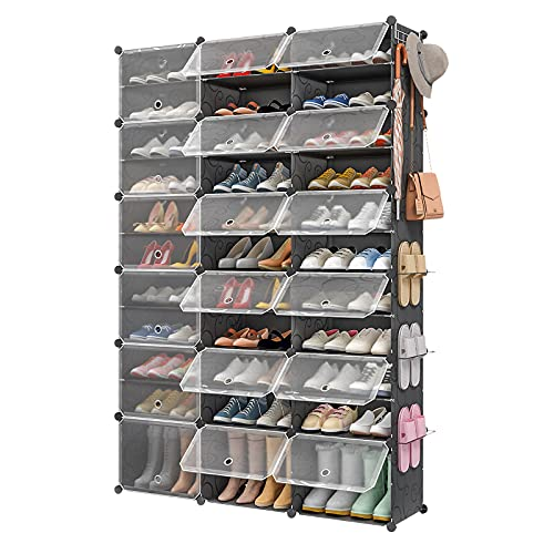 """Aeitc 72 Pairs Shoe Rack Organizer Shoe Organizer Expandable Shoe Storage Cabinet Narrow Standing Stackable Space Saver Shoe Rack for Entryway, Hallway and Closet,48""""x12""""x72"""""""