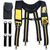 Suspender Tool Belt - Suspenders Work Belt Tool Holder Pouch Heavy Duty Carpenter's Rig Padded Tool Belt Suspenders for Electrician Tools