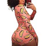 Women Sexy Fruit Print Long Sleeve Button Down One Piece Romper Sleepwear Cotton Pajamas (C-Orange, S)