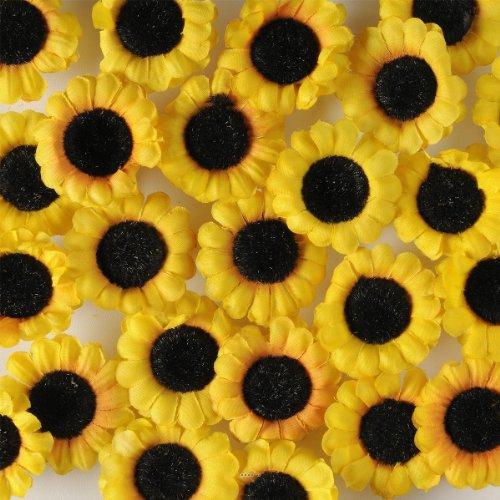 Artif-deco - Tetes de tournesol artificiel jaune x 24 en sachet d 4 5 cm