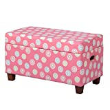 HomePop Youth Upholstered Storage Bench with Hinged Lid, Tufted Swirls on Pink