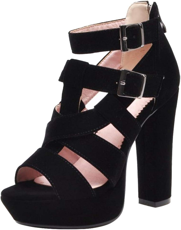 CularAcci Women Classic Block Heel Gladiator Sandals
