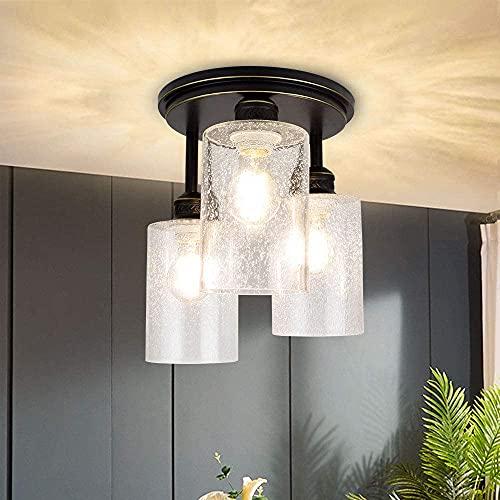 Depuley LED Deckenlampe 3-Flammig Glas, Deckenleuchte Modern, Retro Lampe Vintage Design, E27 Fassung Perfekt für Schlafzimmer Küche, Wohnzimmer (Ohne Birne), Schwarz-Gold
