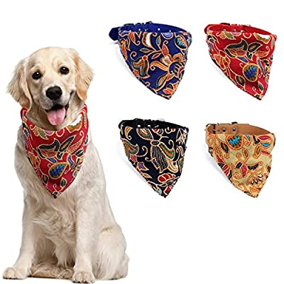 Dog Bandana Collar Set - NULS 4 PCS Pet Triangle Bibs Leather Collar Adjustable Bow Tie for Small Medium and Large Dogs and Cats (Black+Yellow+Blue+Red)