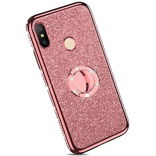 Ysimee Compatible con Fundas Xiaomi Redmi Note 5 Estuches,Transparente Silicona Brillante Glitter Suave Ultra Fina con Reforzado Enchapado TPU Goma Antigolpes Protector Carcasas con Anillo,Oro Rosa