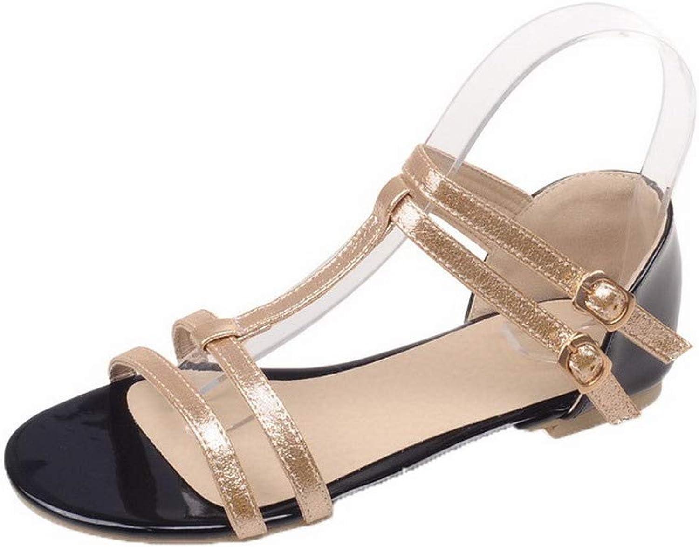 WeiPoot Women's Buckle PU Open-Toe Low-Heels Assorted color Sandals