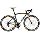 SAVADECK Carbon Road Bike, Warwinds3.0 700C Carbon Fiber Racing Bicycle with SORA 18 Speed Derailleur System and Double V Brake (Orange,44cm)
