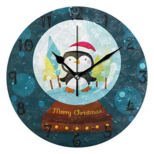 BEUSS Arte Lindo Pinganillo Nieve Reloj de Pared Silencioso Decorativo Madera Vintage Relojs para Dormitorio Hogar Oficina Escuela Decoración