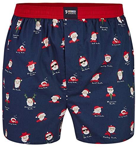 Happy Shorts Herren American Boxer Boxershorts Shorts Webboxer Weihnachten X-Mas Geschenk Weihnachstmann - Santa Claus, Grösse:L - 6-52, Präzise Farbe:Weihnachtsmann - Santa Claus