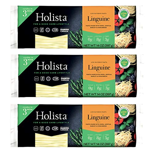 Holista Low Glycemic Linguine - 42oz box (3 x 14oz packs per box) - Better For You Healthy Pasta the Whole Family Will Love!